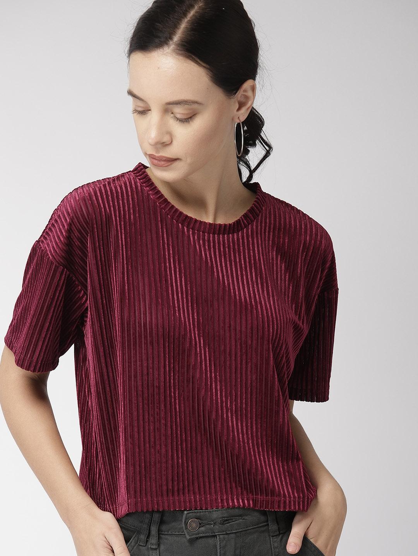 83d411b21fafe5 Buy FOREVER 21 Women Burgundy Self Striped Velvet Top - Tops for ...