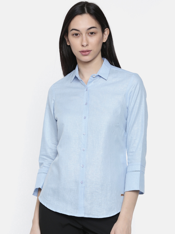 Park Avenue Woman Women Blue Regular Fit Solid Formal Shirt