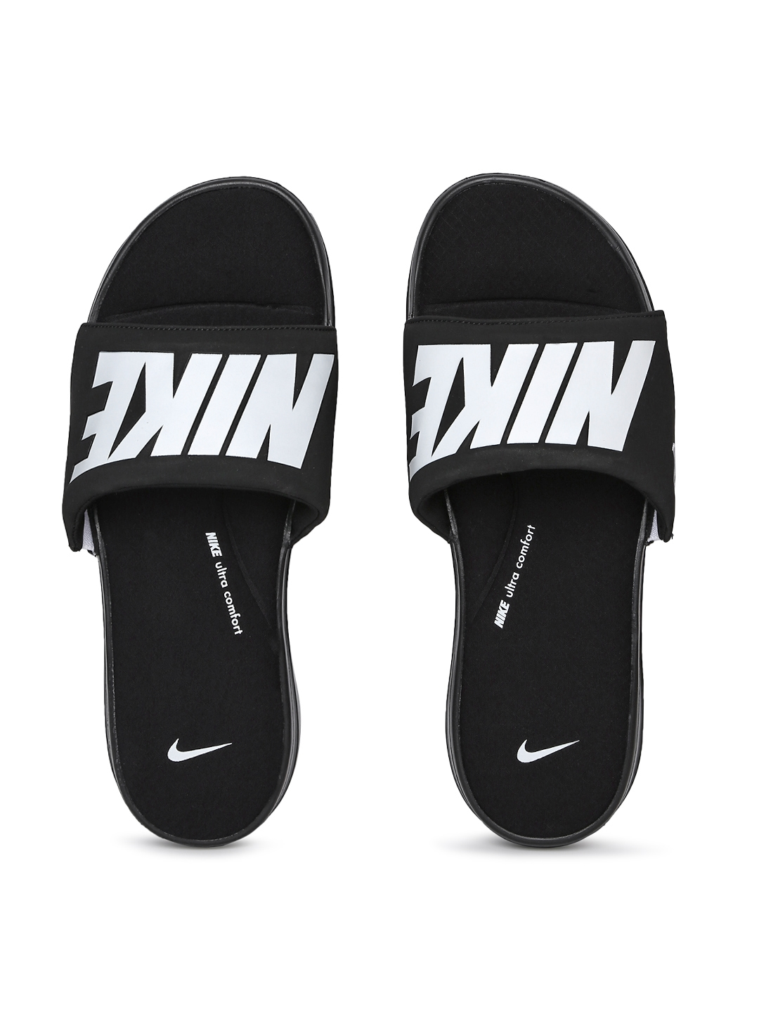 339c78fc47e3 Buy Nike Men Black   White Printed Ultra Comfort 3 Sliders - Flip ...
