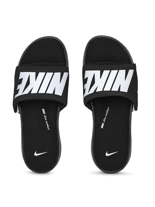 a1c6357f8 Buy Nike Men Black   White Printed Ultra Comfort 3 Sliders - Flip ...