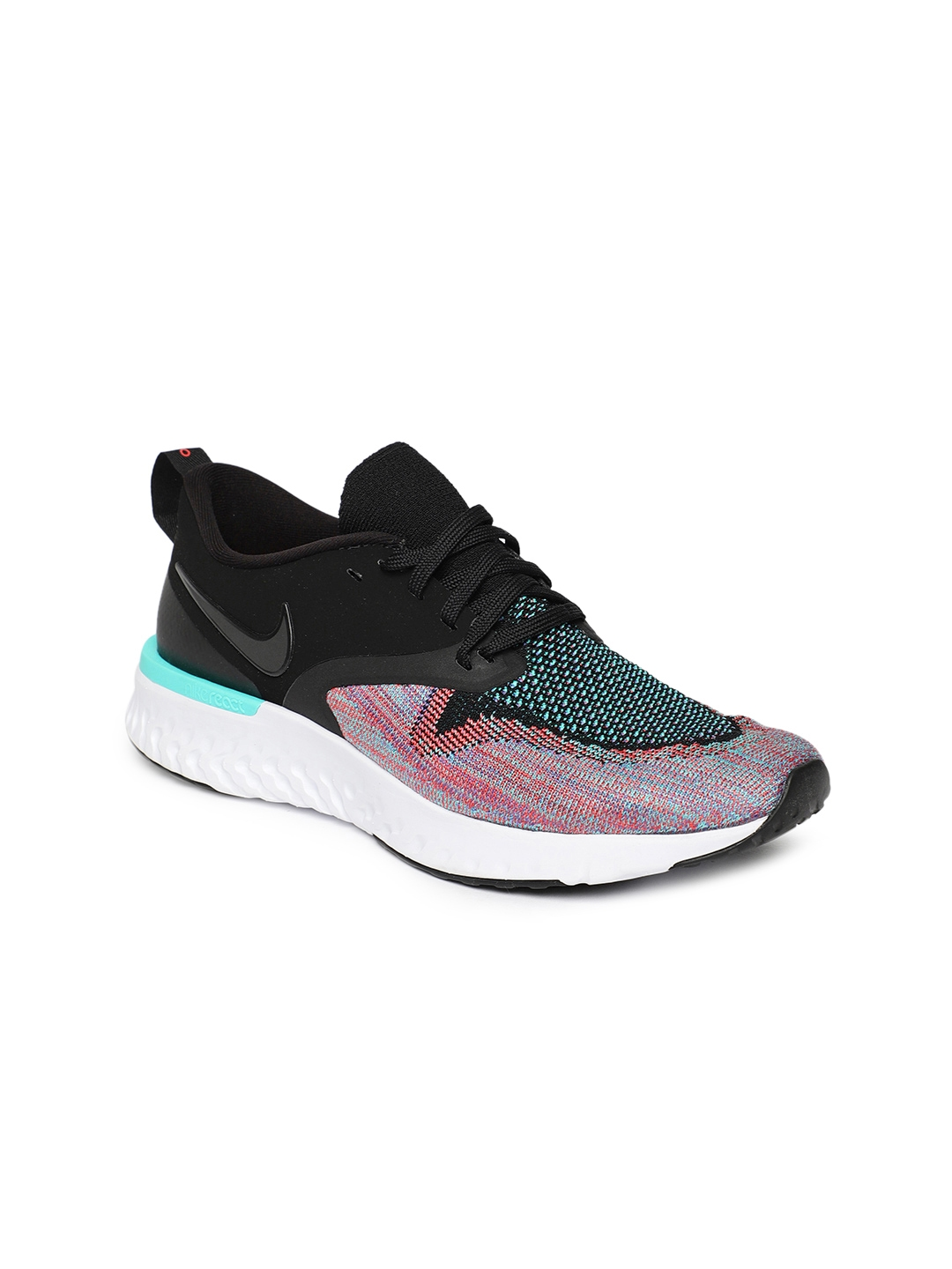 d59a2975a48de Buy Nike Black And Pink Women Odyssey React Flyknit 2 Running Shoes ...