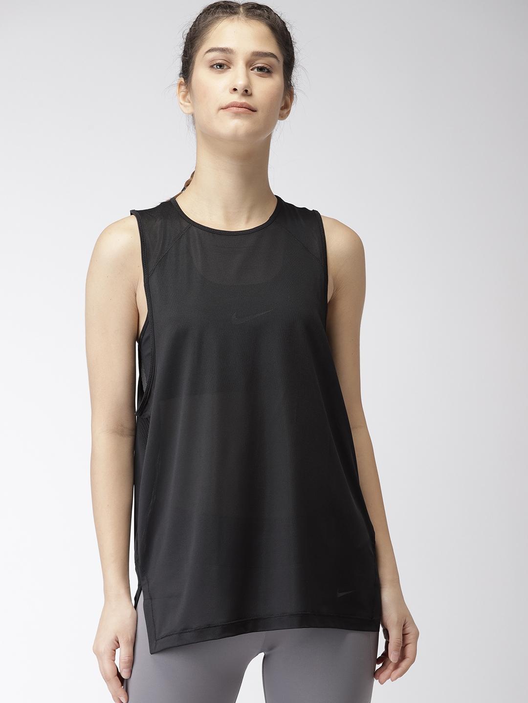 76679b7493 Buy Nike Women Black Loose Fit SPRT DSTRT BR TANK DRI FIT High Low ...