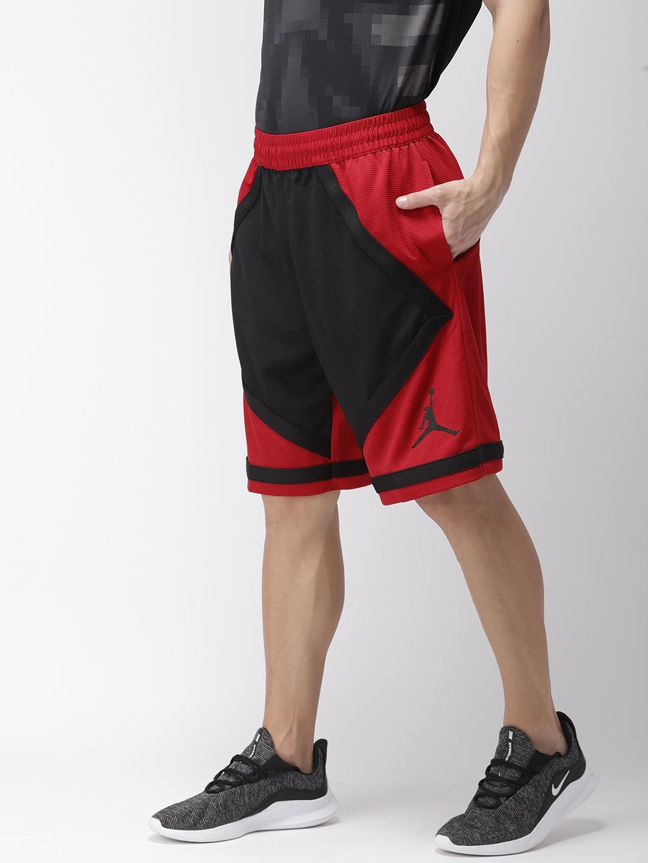 sale retailer 7b292 0845e Nike Men Red   Black Colourblocked Jordan Dri-FIT Taped Loose Fit  Basketball Shorts