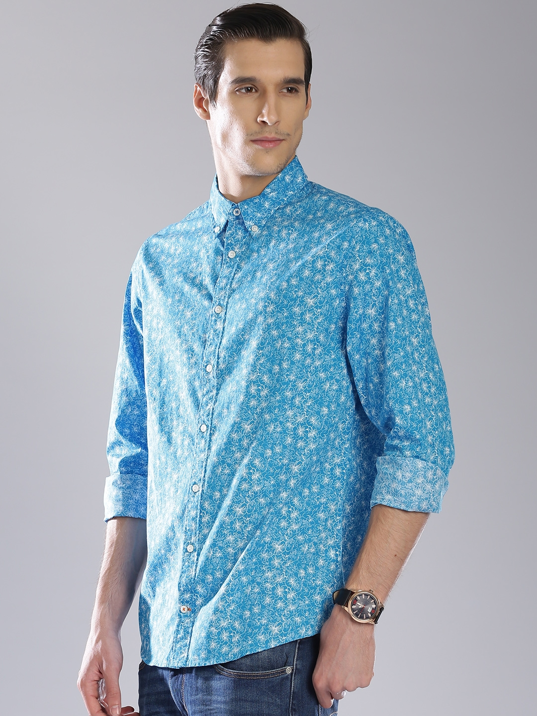 Buy Tommy Hilfiger Blue Printed New York Fit Casual Shirt
