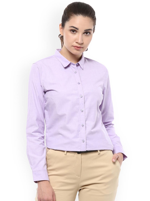 Allen Solly Woman Purple Regular Fit Solid Formal Shirt