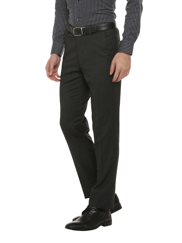 ef85126de2 Buy Van Heusen Men Charcoal Grey Slim Fit Checked Formal Trousers ...