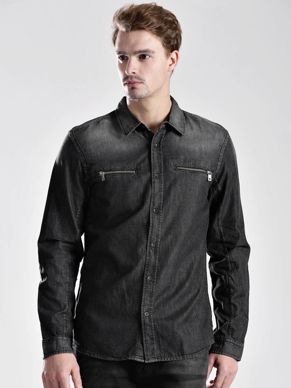buy guess black denim shirt shirts for men myntra