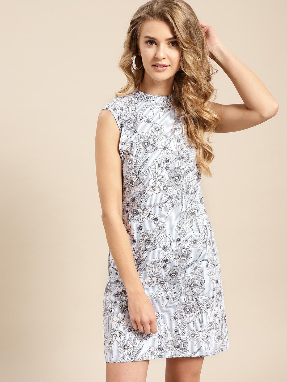 AKS Couture Women Blue Printed Shift Dress