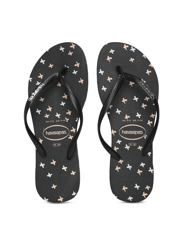 havaianas womens black flip flops