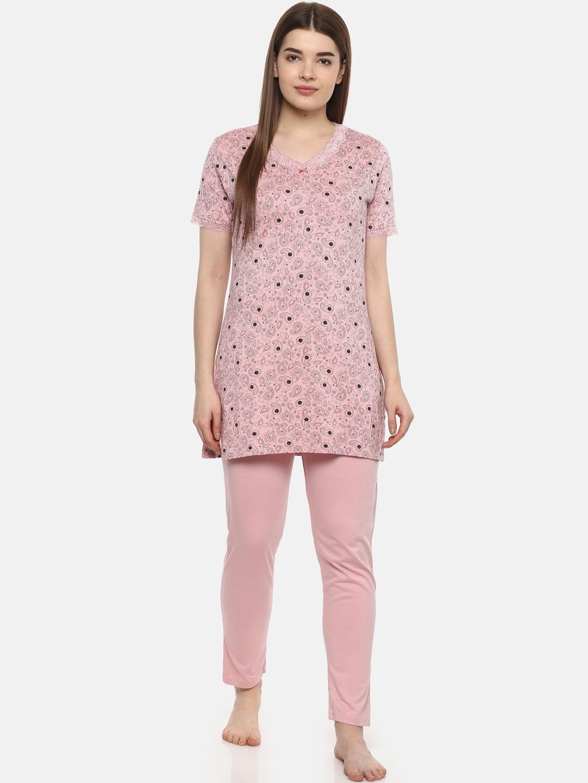 8838b10fb1 Buy Kanvin Women Pink Printed Night Suit MJKSS19259B - Night Suits ...