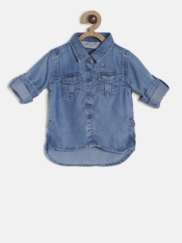 Gini and Jony Girls Navy Blue Solid Denim Casual Shirt
