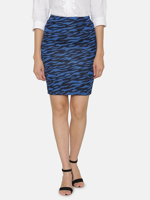 N Gal Women Blue   Black Printed Pencil Skirt