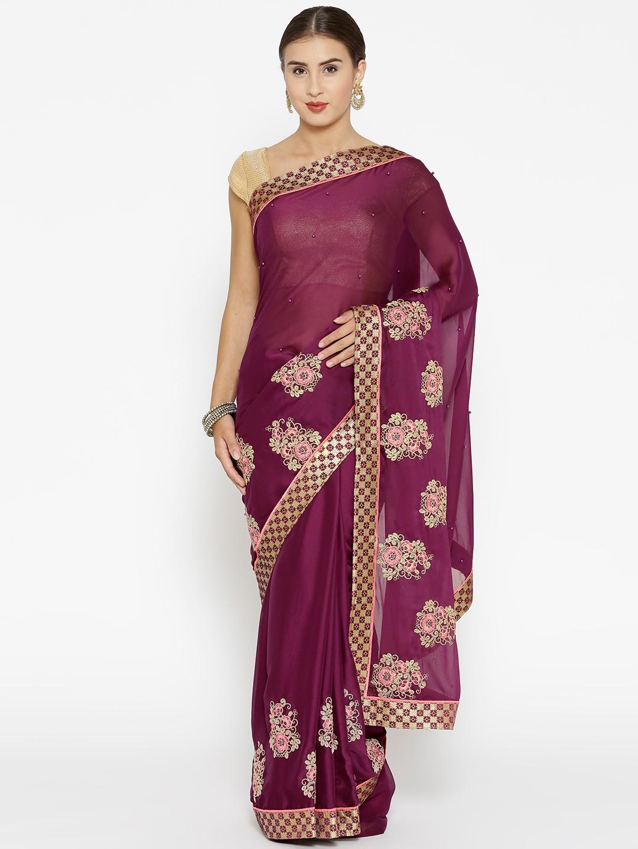 040427041e Buy Triveni Purple Embroidered Saree - Sarees for Women 9151825   Myntra