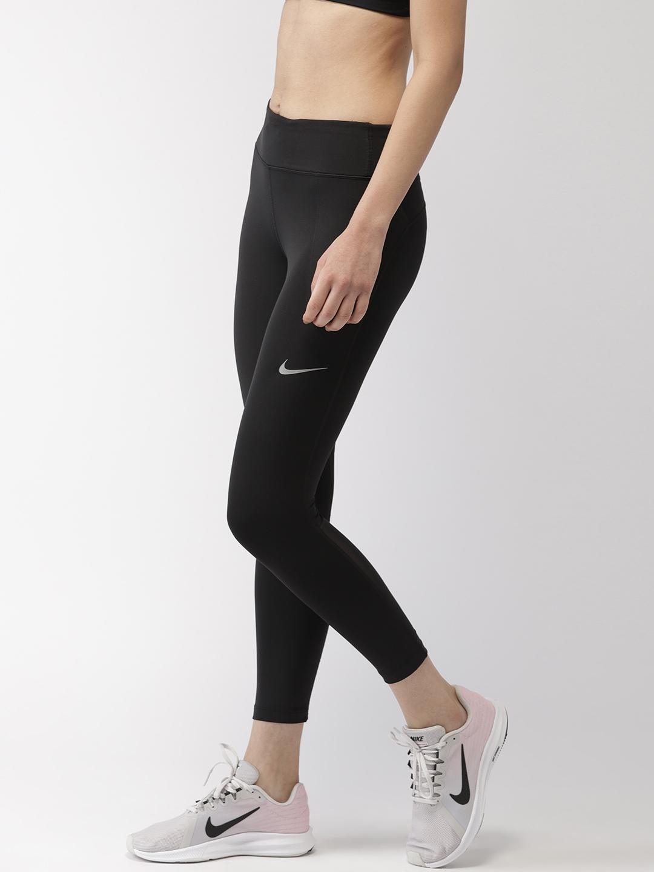 00f2b2d8 Buy Nike Women Black AS W NK FAST DRI FIT CROP Running Tights ...
