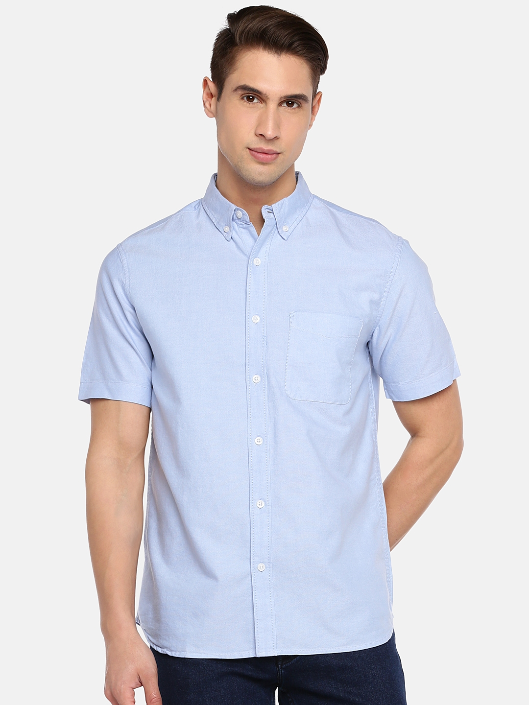 672af164b44c Buy Cottonworld Men Blue Regular Fit Solid Casual Shirt - Shirts for ...