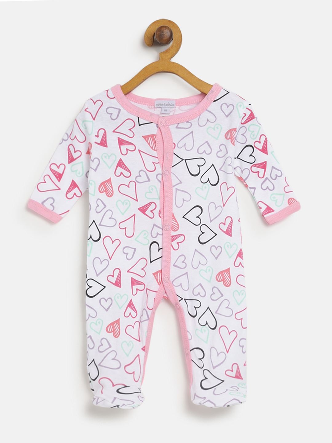 Mothers Choice Girls White   Pink Printed Sleepsuit