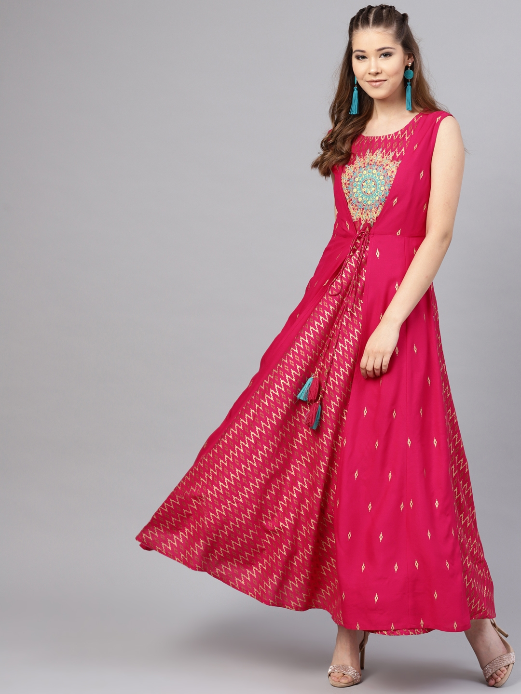 a190092ecdb Buy Juniper Women Fuchsia Embellished Maxi Dress - Dresses for Women ...