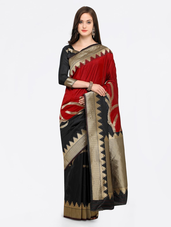 962c1c730203b9 Buy Shaily Red   Black Pure Silk Woven Design Banarasi Saree ...