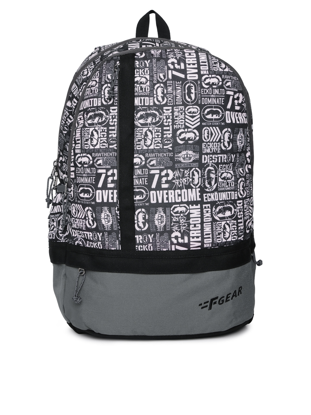 F Gear Unisex Black   White Typography Backpack