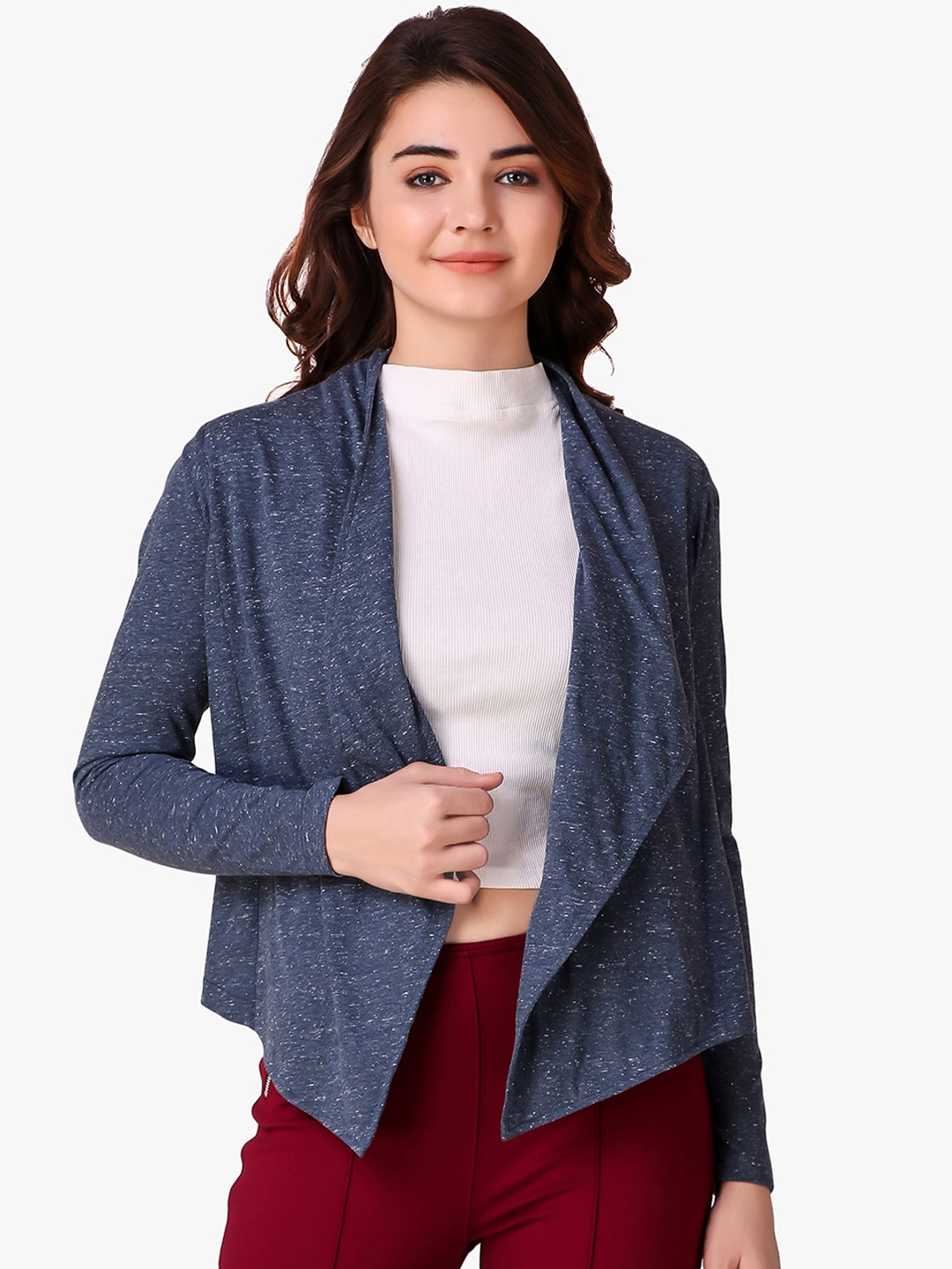 Texco Women Navy Blue Solid Open Front Shrug