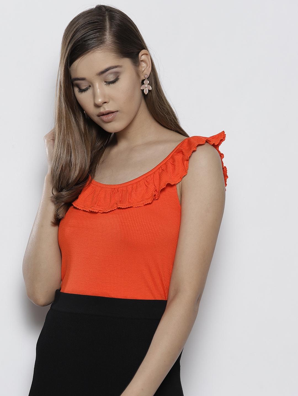 6e8b354ce6745 Buy DOROTHY PERKINS Women Orange Solid Top - Tops for Women 9267019 ...