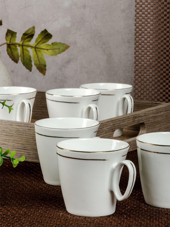 SONAKI Set of 6 White Solid Bone China Tea Cups