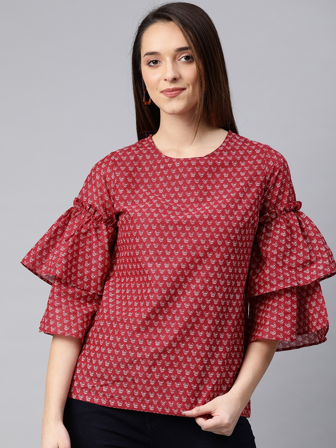 Biba Women Red Printed Bell Sleeves Pure Cotton Top