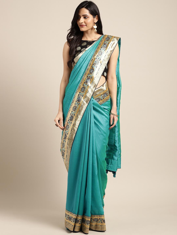Indian Women Sea Green & Gold Toned Poly Silk Woven Design Saree