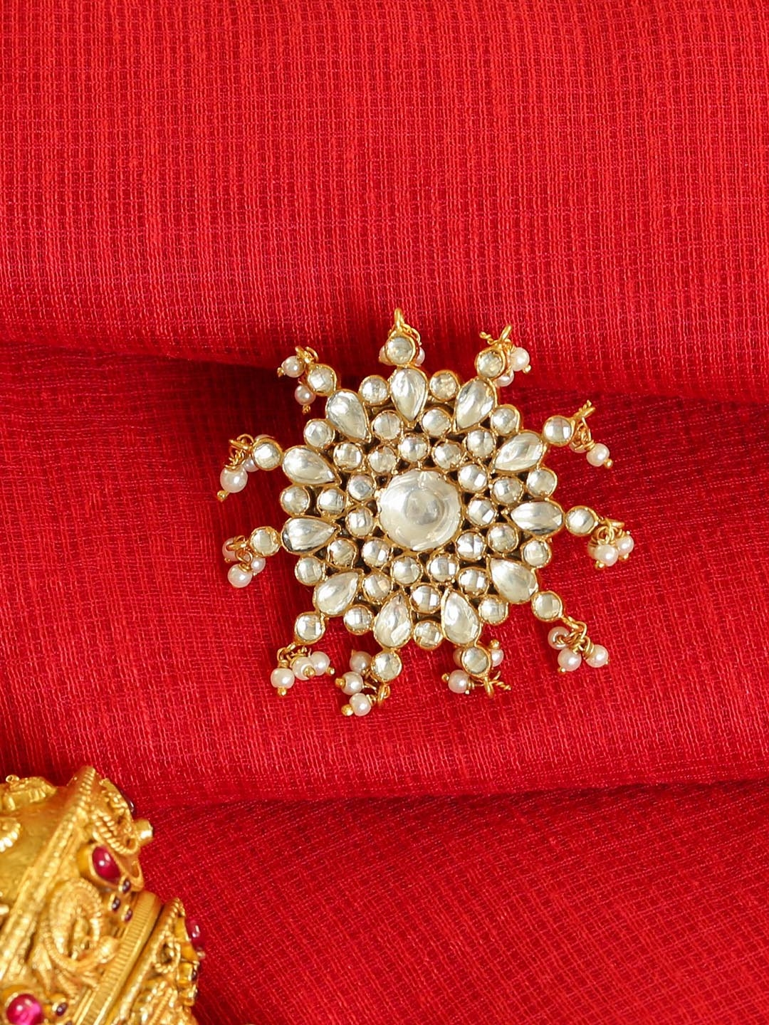 Unniyarcha Jewellery 18KT Gold Plated Kundan   Pearl Studded Ajustable Jadau Cocktail Finger Ring