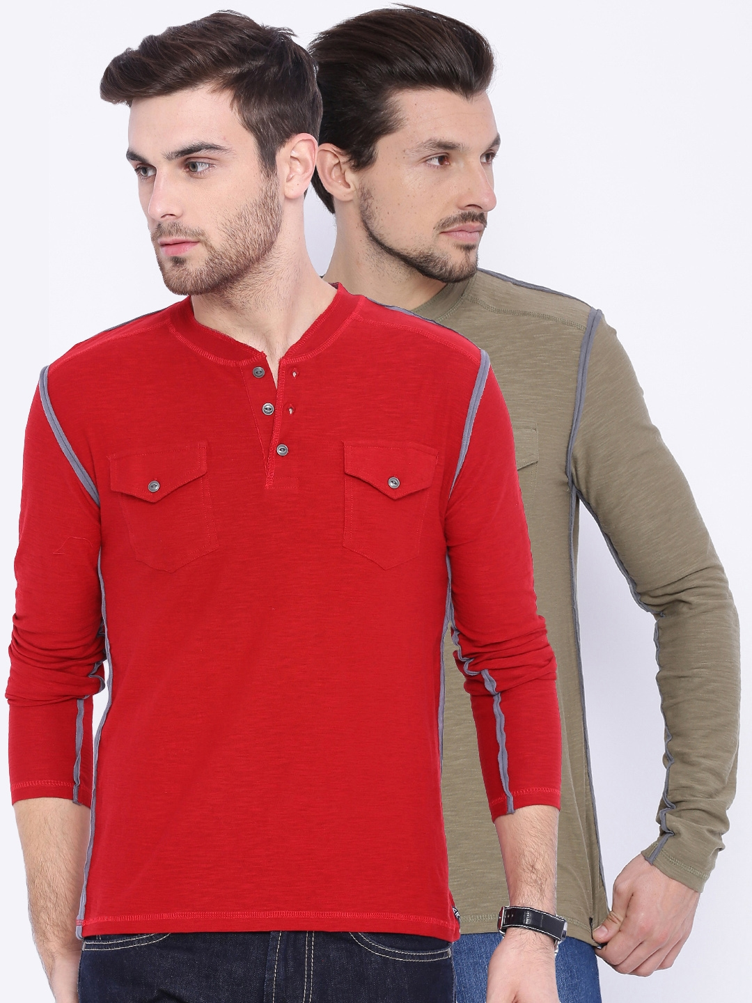 ARISE Men Pack of 2 Solid Henley Neck T shirts