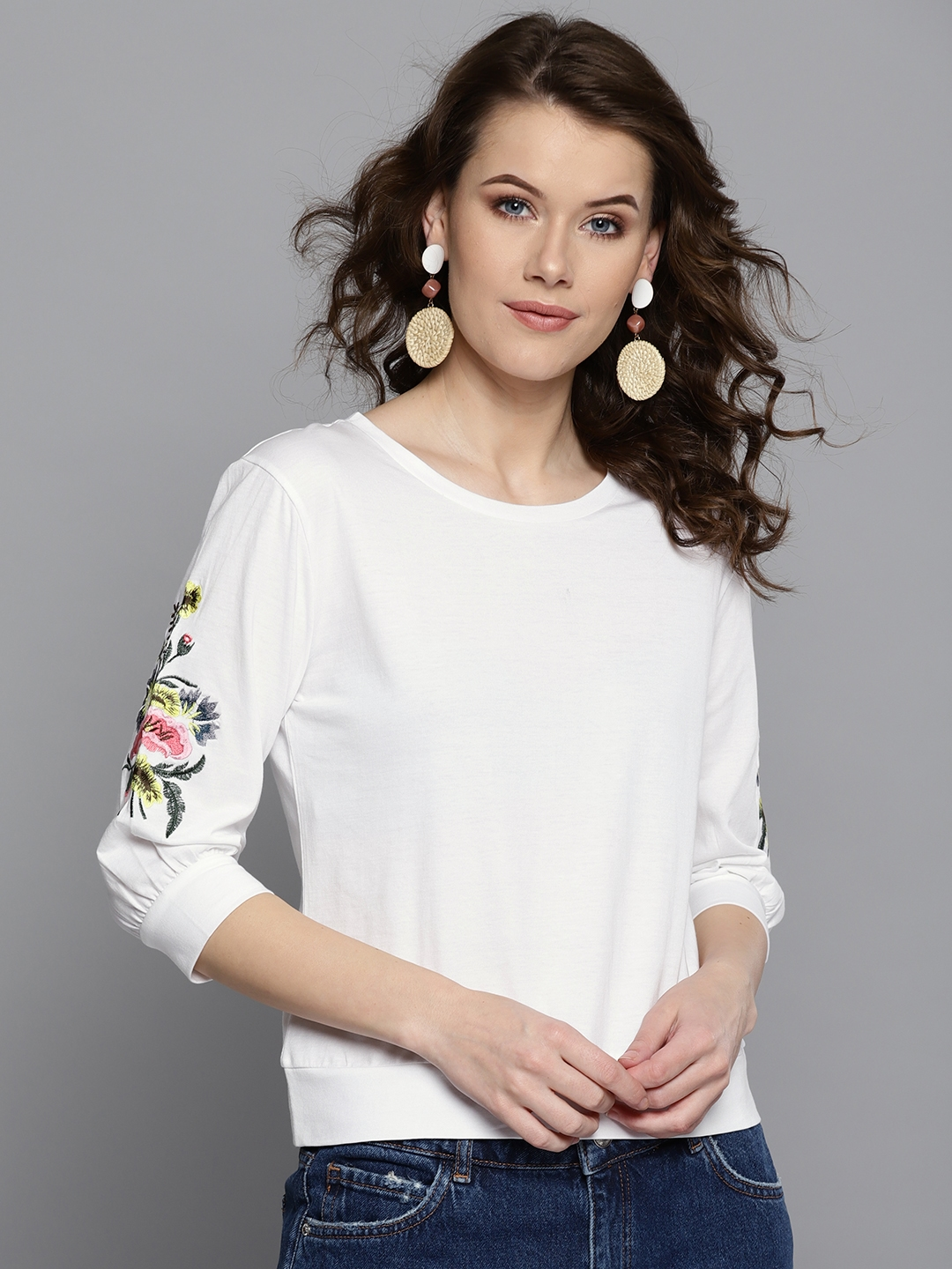 Harpa Women White Solid Top with Floral Embroidered Sleeves