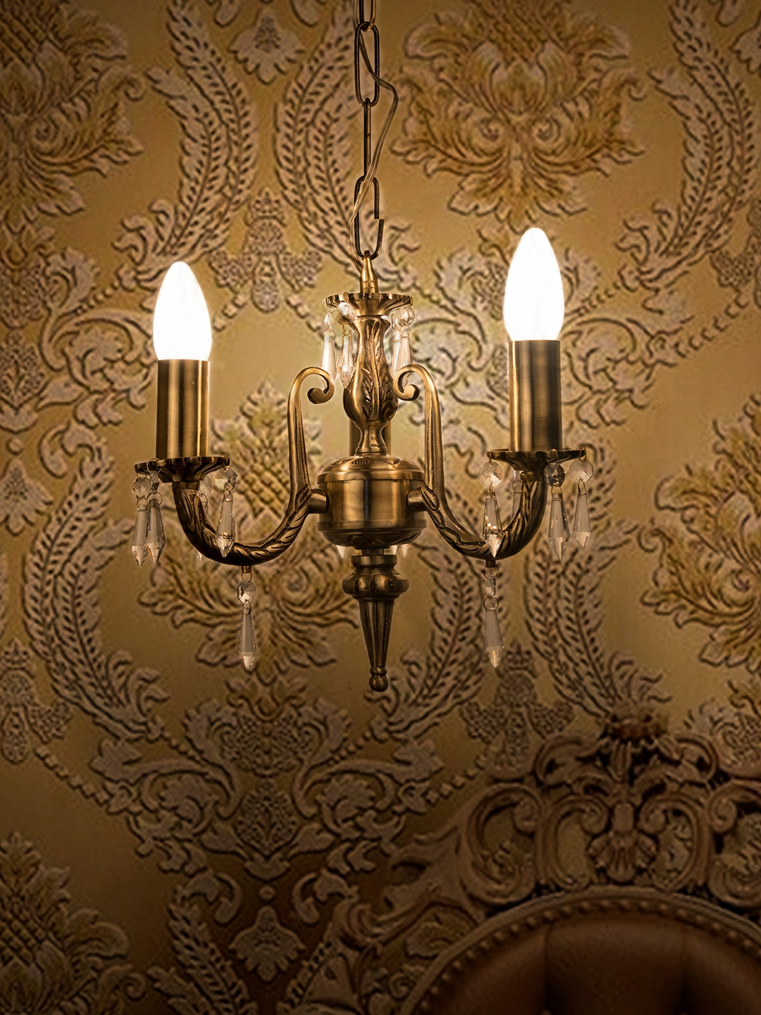 Fos Lighting Antique Gold Toned Cylindrical Ceiling Lamp