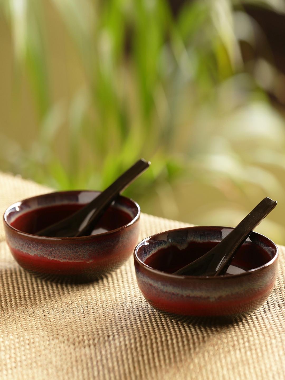 ExclusiveLane Brown   Black Magma Hand Glazed Studio Pottery 4 pcs Ceramic Soup Bowl Set