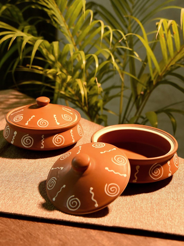 Unravel India Set of 2 Brown Ceramic Handis with Lids