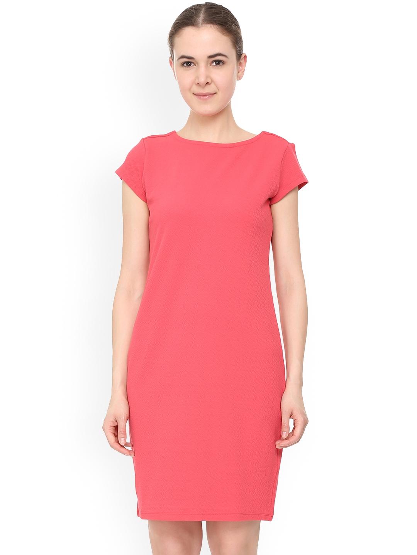 Allen Solly Woman Pink Solid Sheath Dress