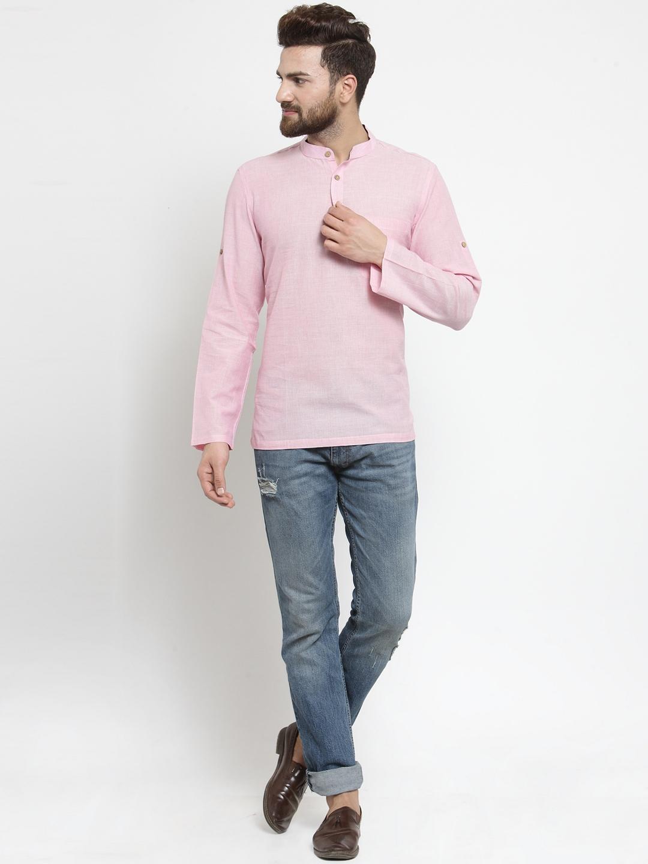 Men-039-s-Short-Kurta-Cotton-Shirt-Indian-Wear-Short-Round-Neck-Tunic-Kurta-XS-5XL thumbnail 32