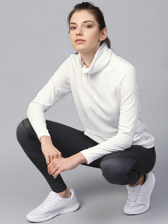 HRX by Hrithik Roshan Women White Self Design Sweatshirt