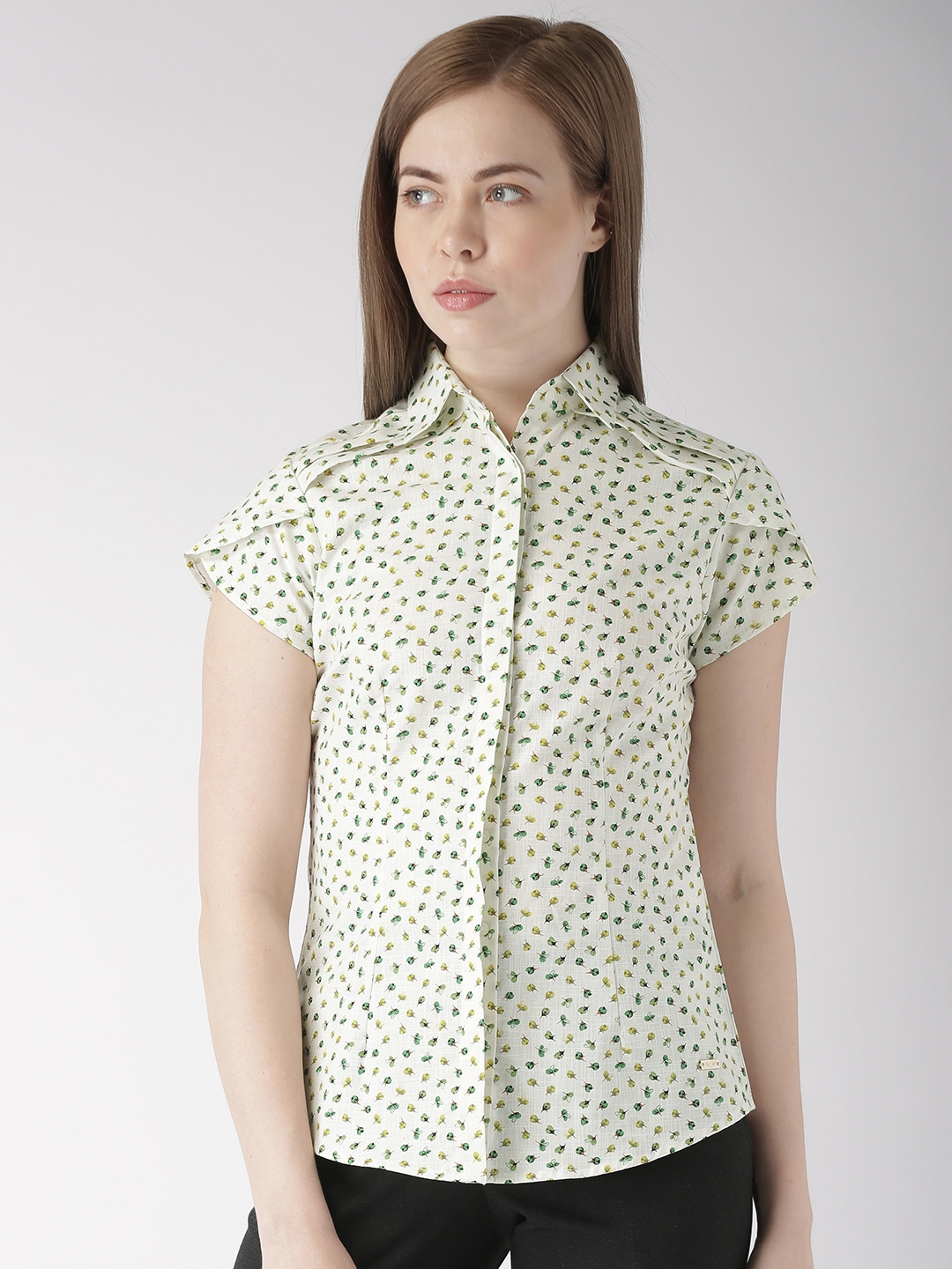 Park Avenue Women Green Regular Fit Printed Formal Shirt Park Avenue Woman Shirts