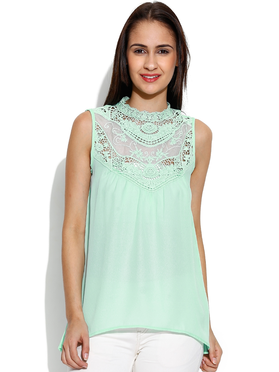 c26b416b2a24a4 Buy Envy Me Green Crochet Sheer Top - Tops for Women 945172 | Myntra