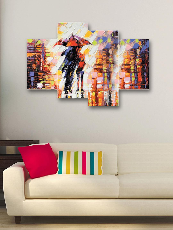 eCraftIndia Set of 4 Multicoloured Lovely Couple Canvas Wall Art