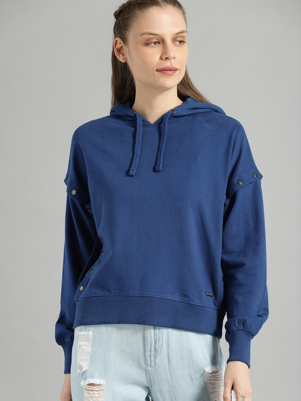 Roadster Women Blue Solid Hooded Sweatshirt with Detachable Sleeves
