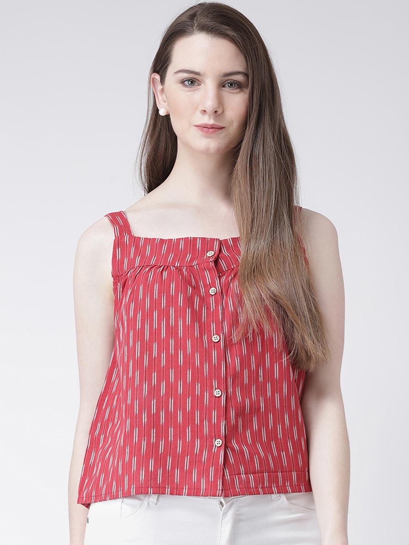 pinwheel Women Red Striped Top