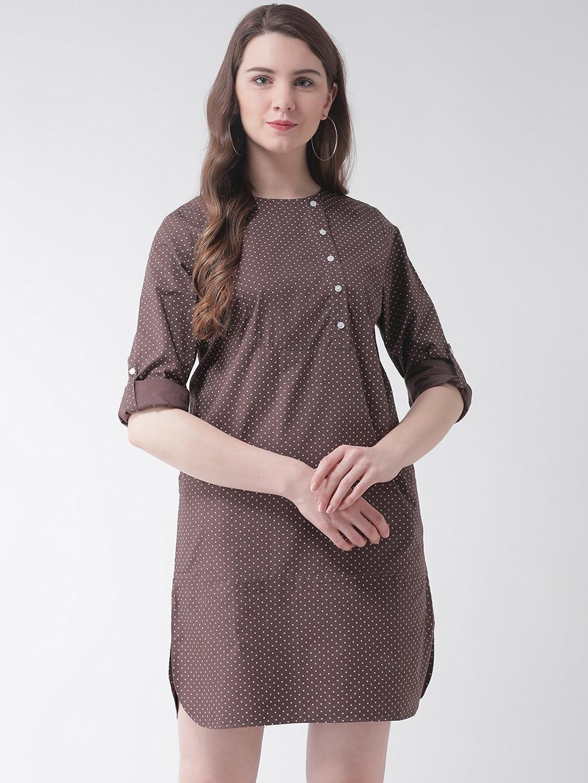 The Vanca Women Brown Printed A Line Dress