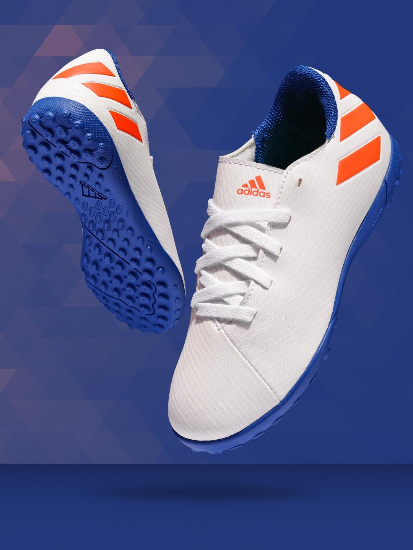 ADIDAS Boys White Striped NEMEZIZ Messi 19.4 Turf Football Shoes