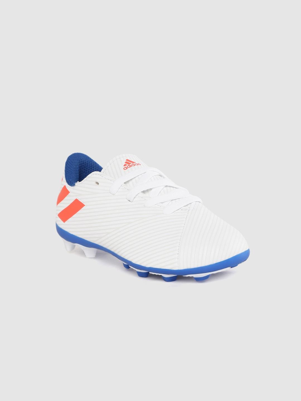 ADIDAS Boys White Striped NEMEZIZ Messi 19.4 Firm Ground Football Shoes