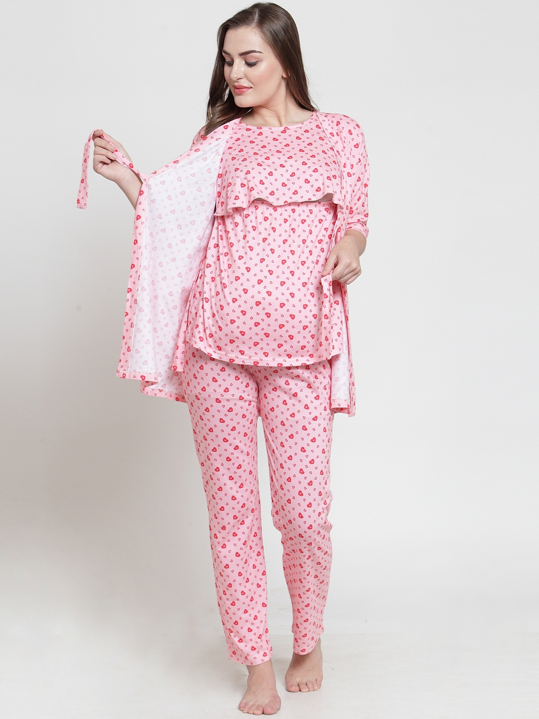 Buy Claura Women Pink Printed Maternity Night Suit MT 04 - Night Suits for  Women 9587703 | Myntra