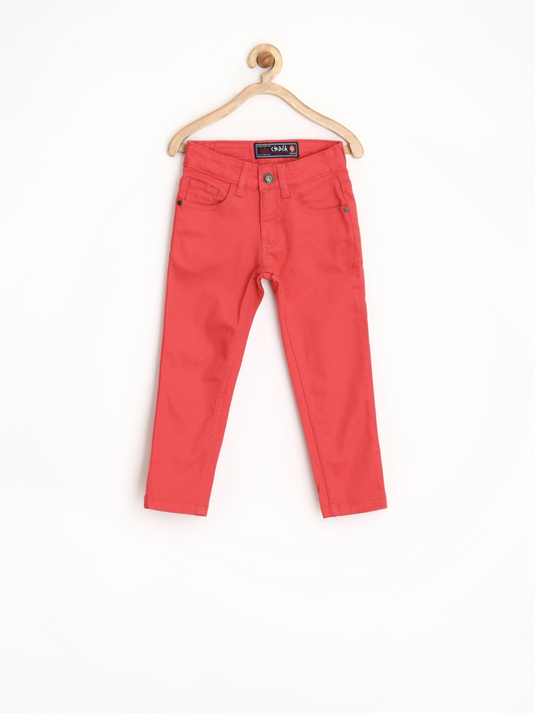 Buy CHALK By Pantaloons Girls Coral Red Jeans - Jeans for Girls ...