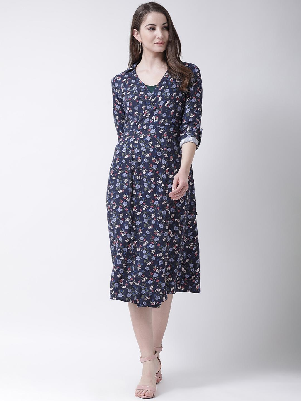 The Vanca Women Navy Blue Printed Wrap Dress Cum Shrug