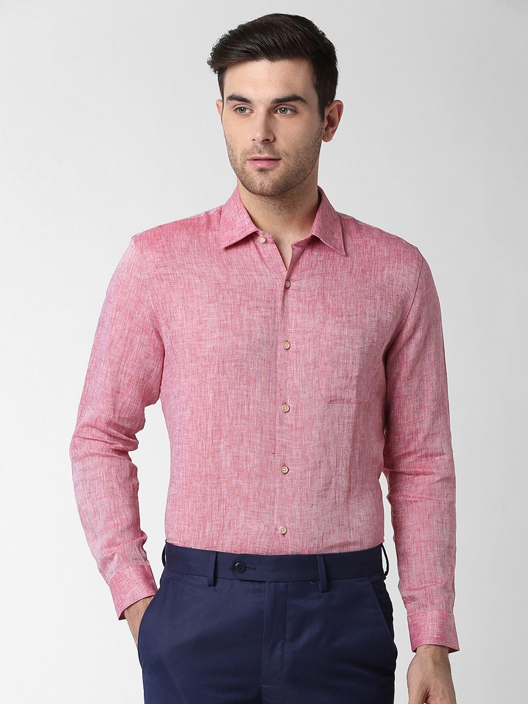 Peter England Men Maroon Slim Fit Solid Formal Linen Shirt