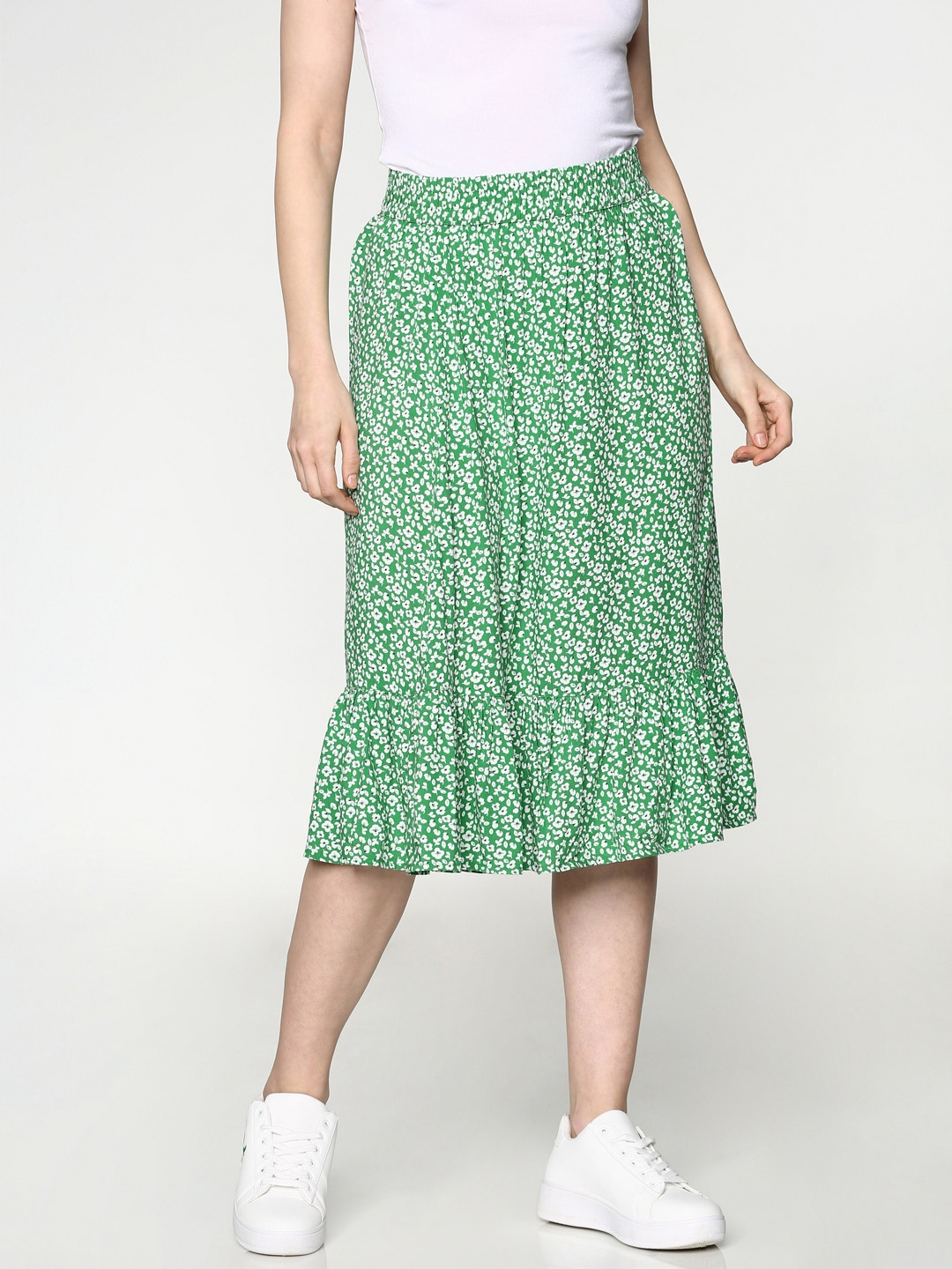 ONLY Women Green Printed A Line Skirt